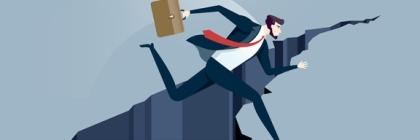 Businessman jumps over gap. Overcoming obstacles business concept